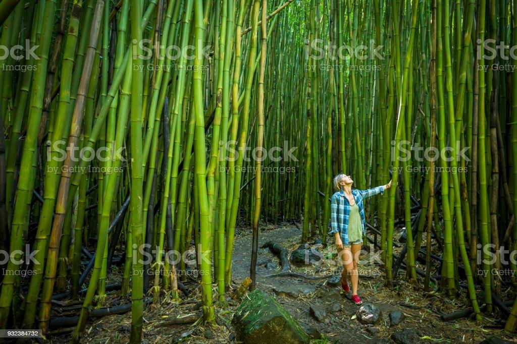 マウイ島の竹の森を歩く女性。 ストックフォト