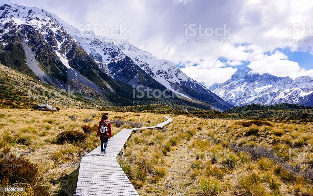 Woman walking through Hooker Valley trail stock photo