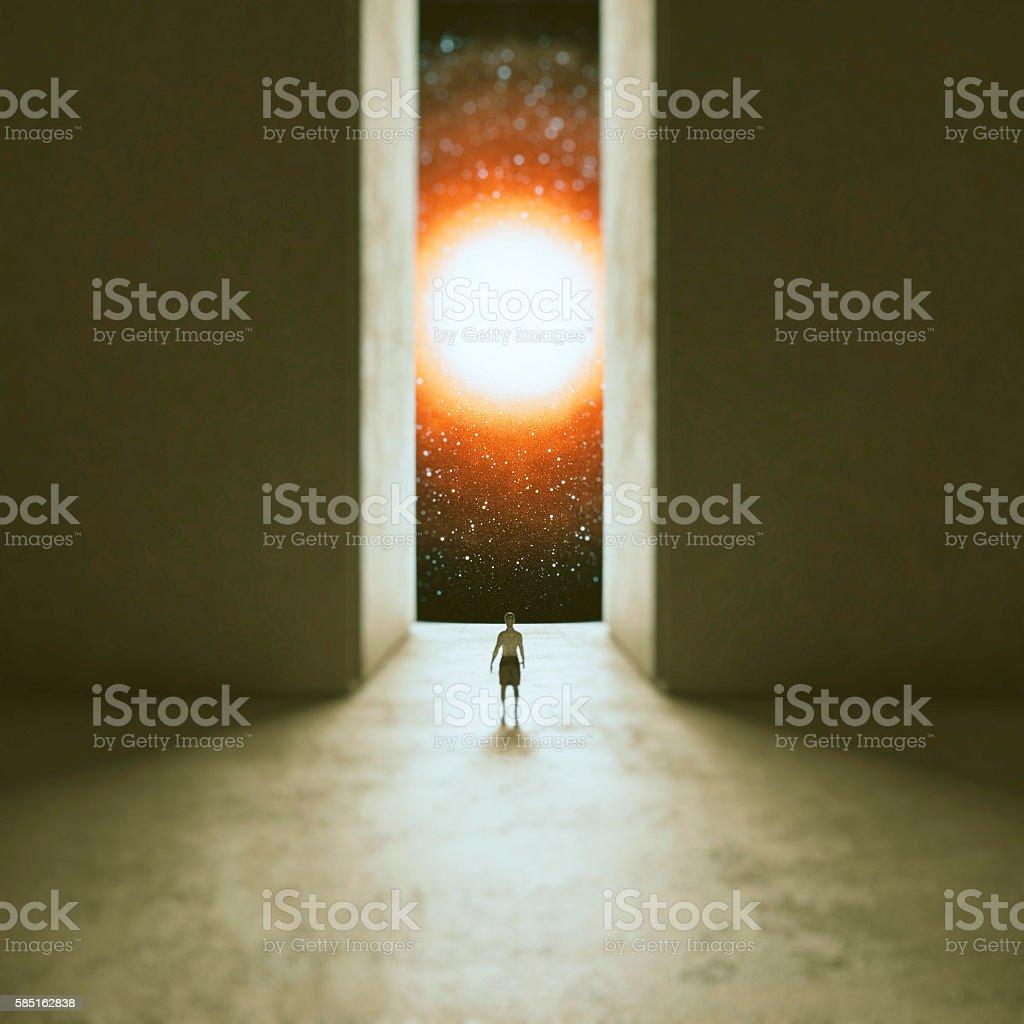 Woman walking through interdimensional passage stock photo