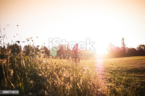 A beautiful woman is walking through a meadow. She's alone in a peaceful natural setting, walking towards the setting sun. The meadow is located in Sandy, Oregon. She is holding a wildflower, which she has picked.