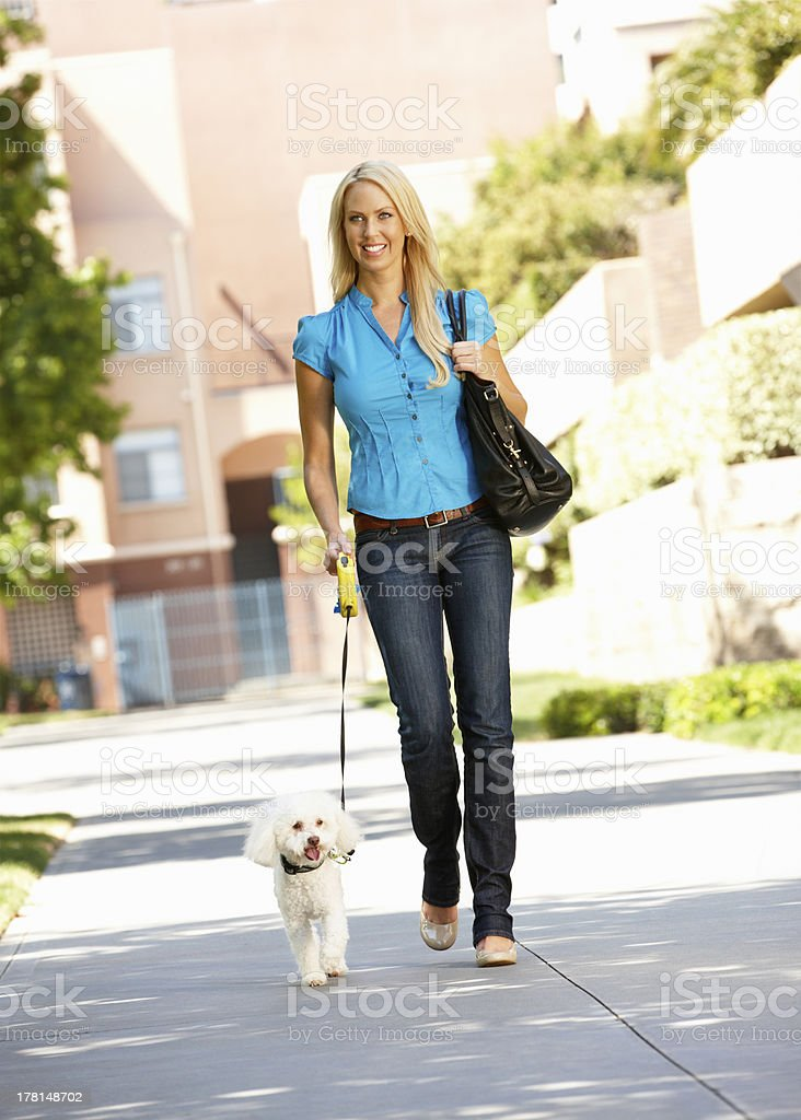 Woman walking with dog in city street stock photo