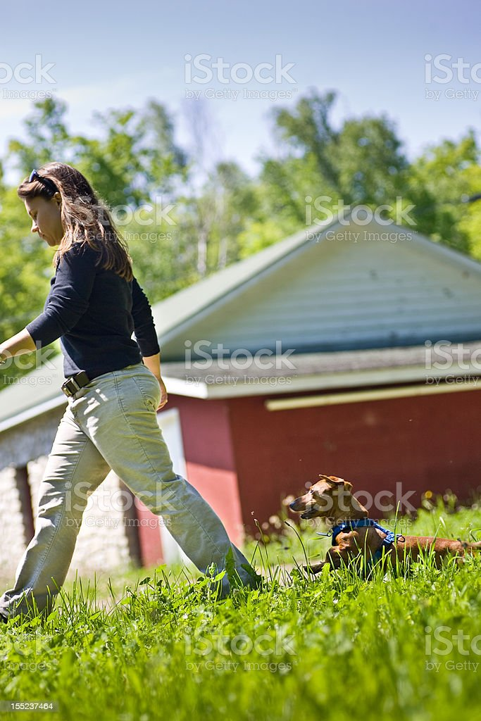 woman walking with small dog following behind royalty-free stock photo