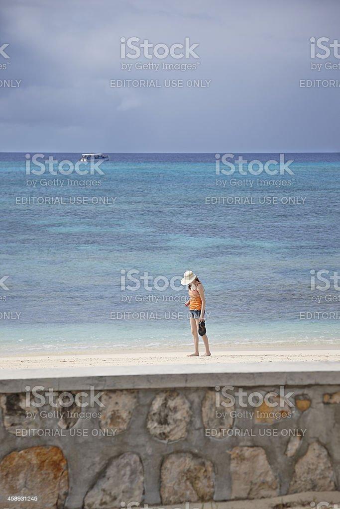 Woman Walks Alone on Beach, Caribbean Grand Turk Island royalty-free stock photo