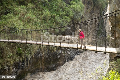 903015102 istock photo Woman walks over bridge spanning river gorge 961850006