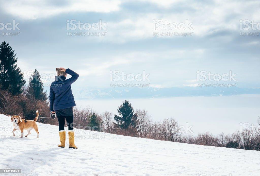 Frau geht mit ihrem Hund auf Berghügel – Foto