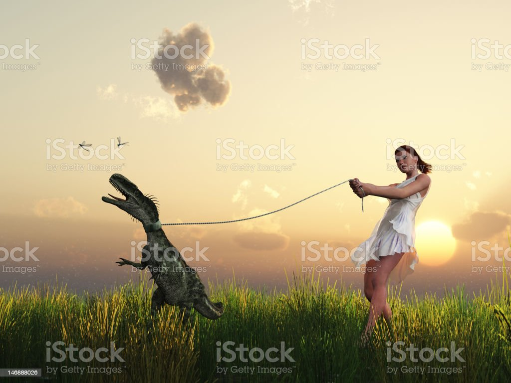 woman walks with your pet royalty-free stock photo