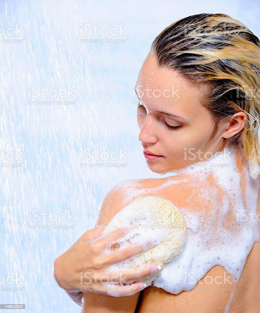 Frau Waschen Ihr Körper – Foto