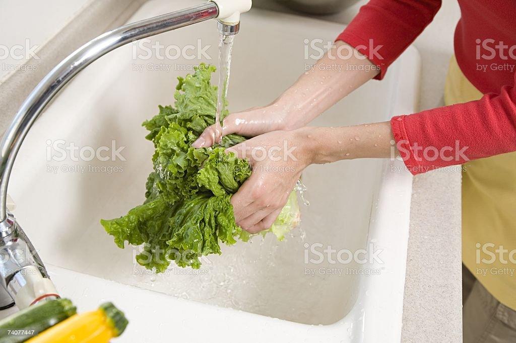Mulher lavar a alface foto de stock royalty-free