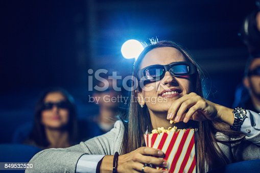 istock Woman watching movie in theater 849532520