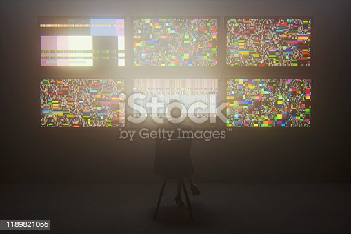 Woman watching multiple TV sets at the same time. This is entirely 3D generated image.