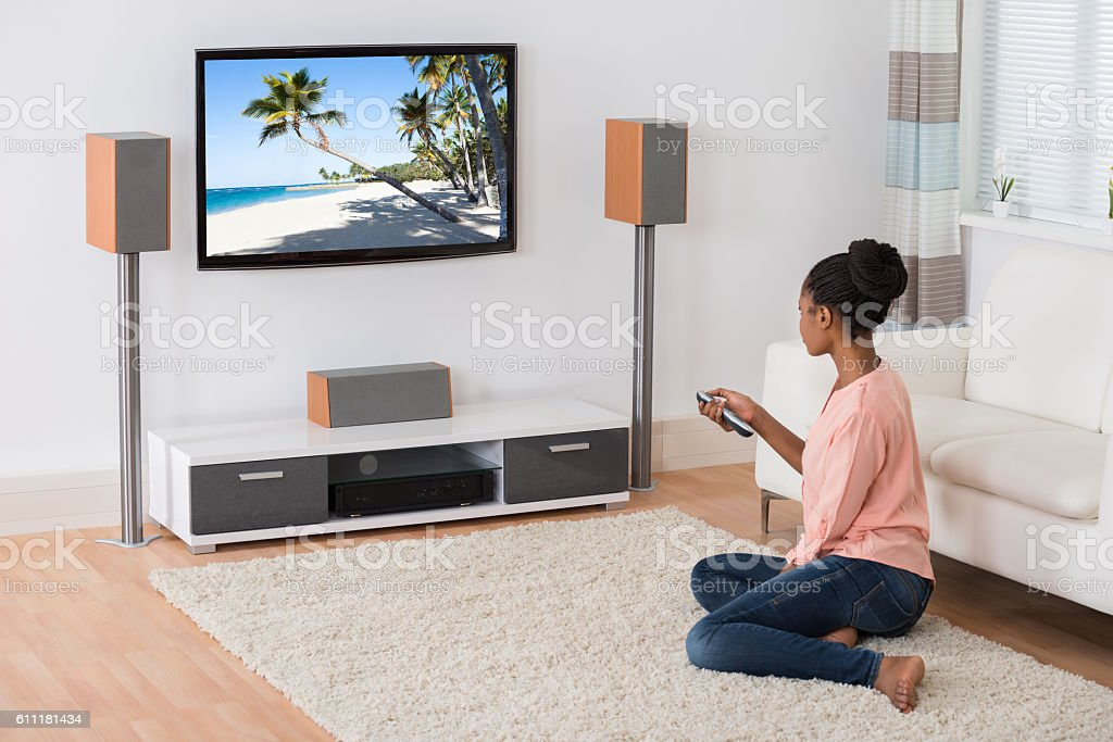 Woman Watching Television stock photo