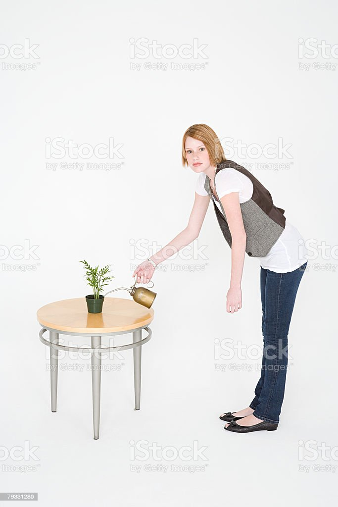 A woman watering a plant with a jerry can foto de stock royalty-free