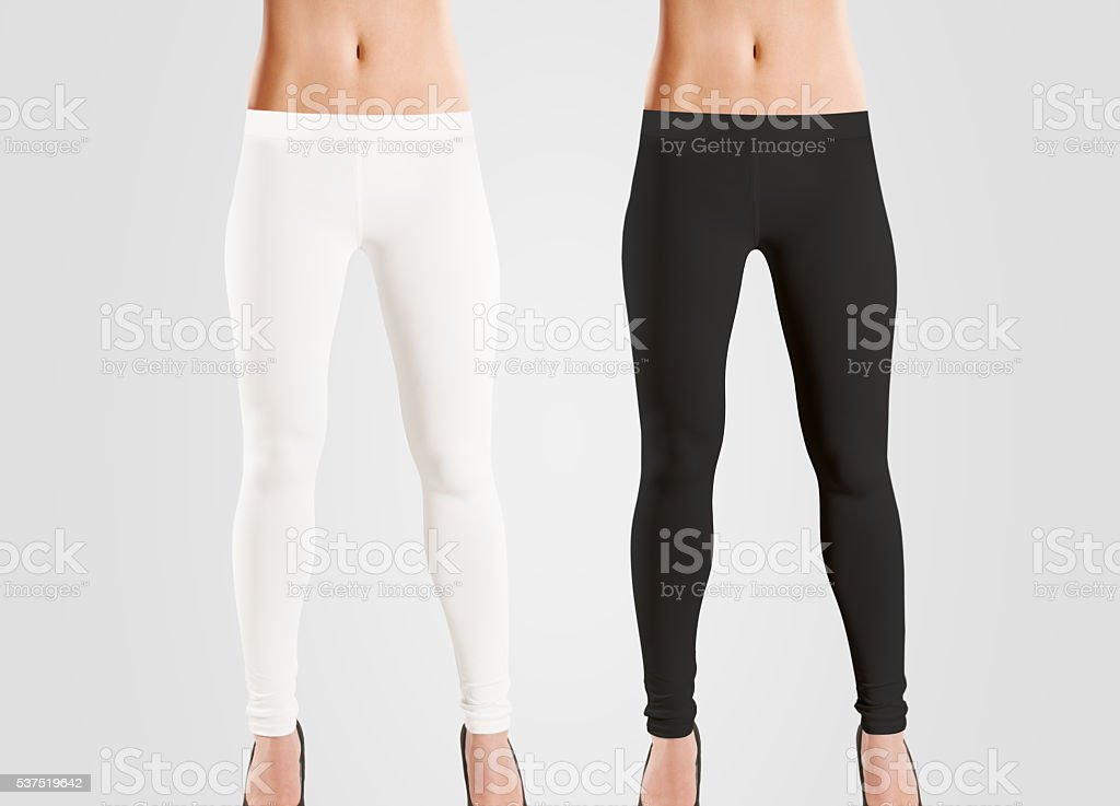 Woman wear blank leggings mockup, black, white, isolated on grey. stock photo