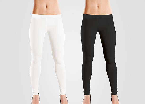 woman wear blank leggings mockup, black, white, isolated on grey. - black women wearing pantyhose stock photos and pictures