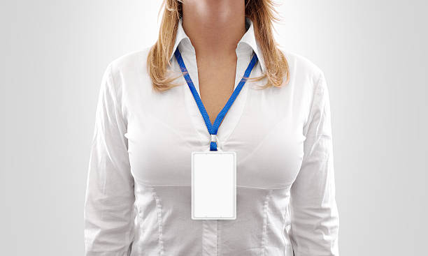 woman wear blank white vertical badge mockup, stand isolated. - badge stock pictures, royalty-free photos & images