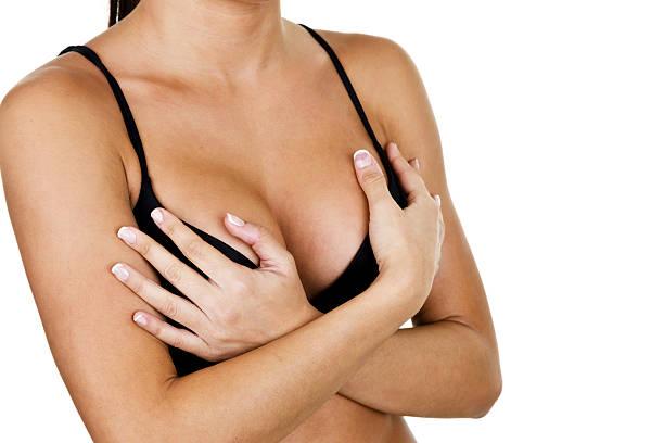 Woman wearing a bra stock photo