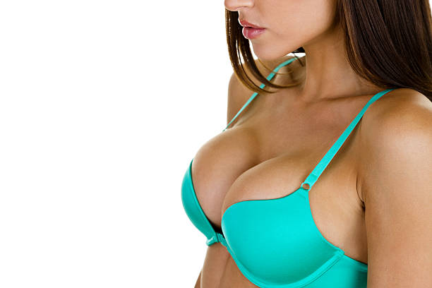 Woman wearing a bra stock photo