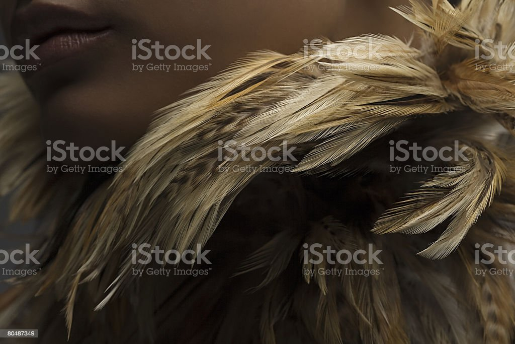 A woman wearing a feather necklace royalty-free 스톡 사진