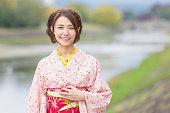Woman wearing a kimono in Kyoto