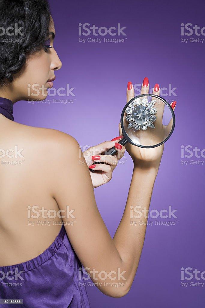 Woman wearing a large diamond ring 免版稅 stock photo