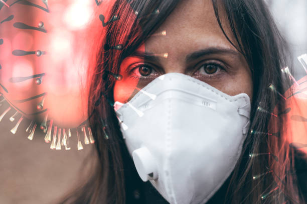 woman wearing a mask to protect from viruses stock photo
