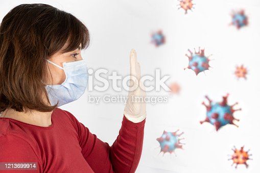 475709137 istock photo Woman wearing a mask to protect from viruses 1213699914