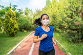 Woman wearing a protective face mask