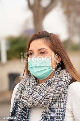 Closeup of a beautiful woman wearing a green surgical mask to prevent an infection. Disease prevention concept.