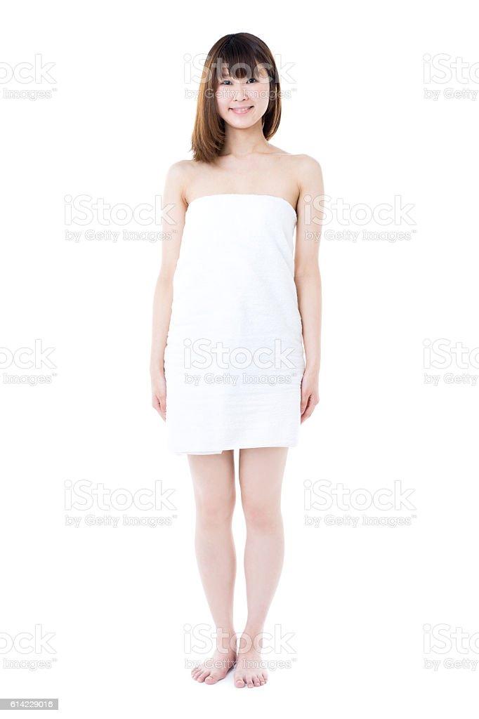 Woman wearing a towel stock photo