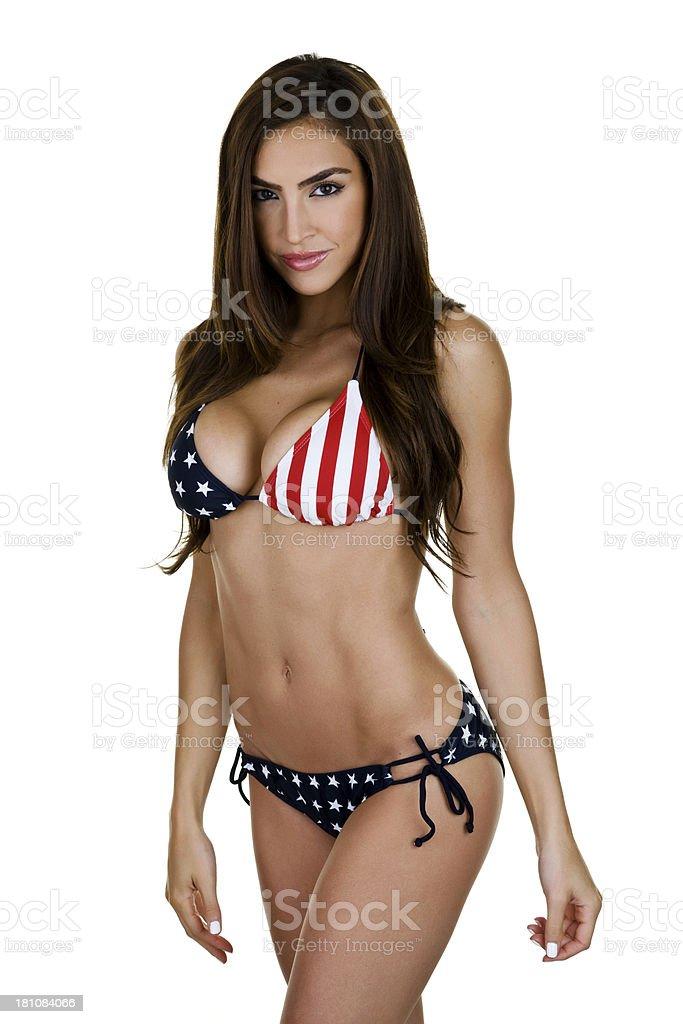 Woman wearing American flag Bikini stock photo