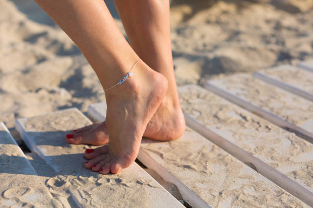 Woman wearing an anklet stock photo