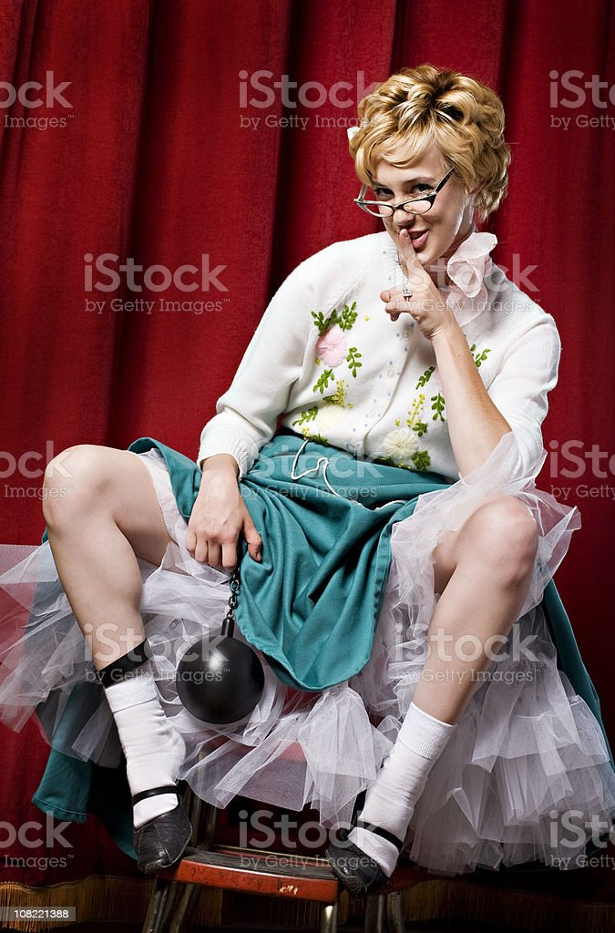 Woman Wearing Ankle Ball and Chain royalty-free stock photo
