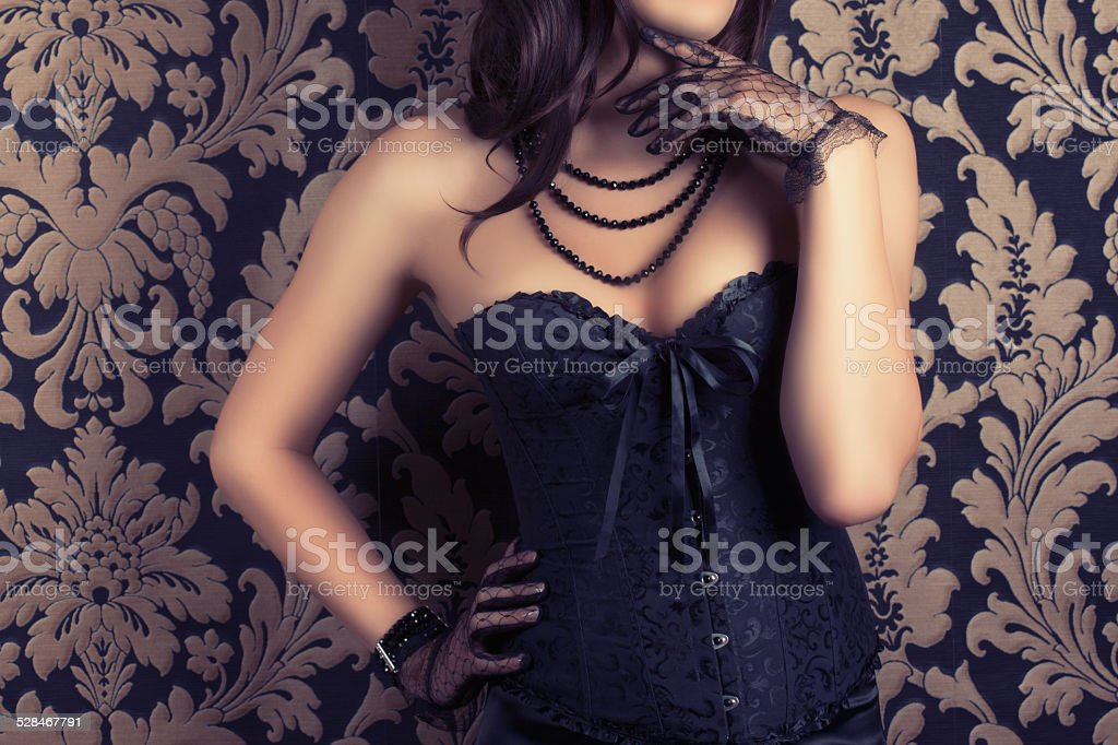 woman wearing black corset stock photo