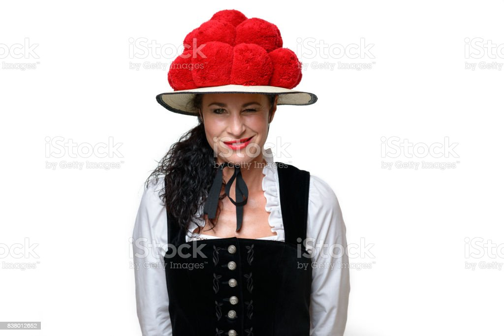 Woman wearing Black Forest traditional dress stock photo