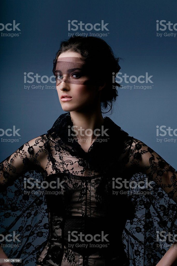 Woman Wearing Black Lace Outfit royalty-free stock photo