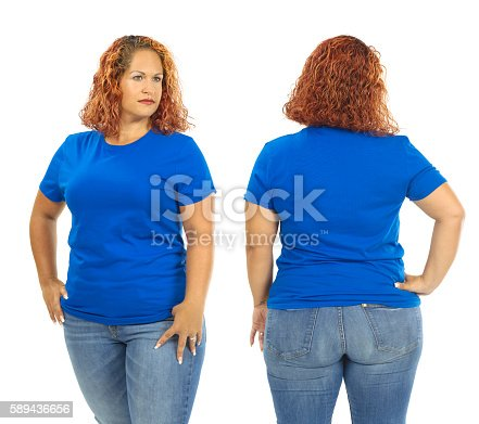 istock Woman wearing blank blue shirt front and back 589436656