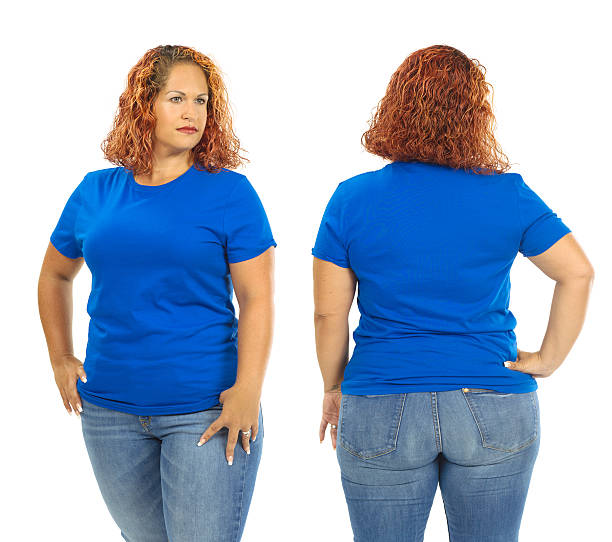 Woman wearing blank blue shirt front and back stock photo