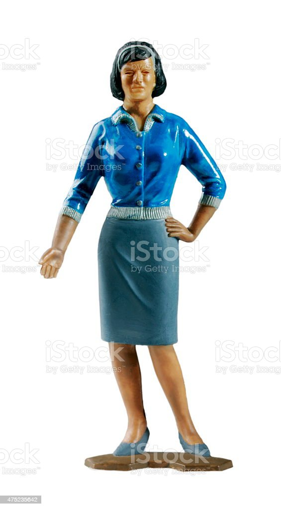 Woman Wearing Blue Top and Grey Skirt stock photo