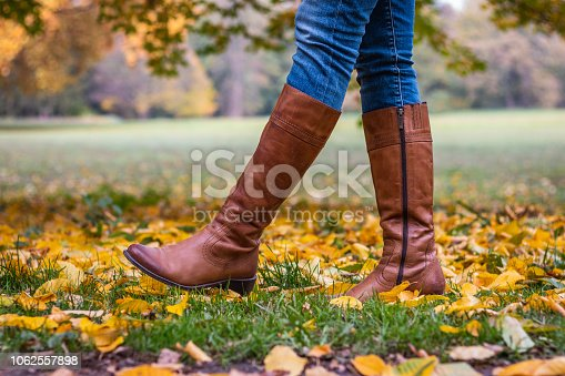 Fashion model in autumn park