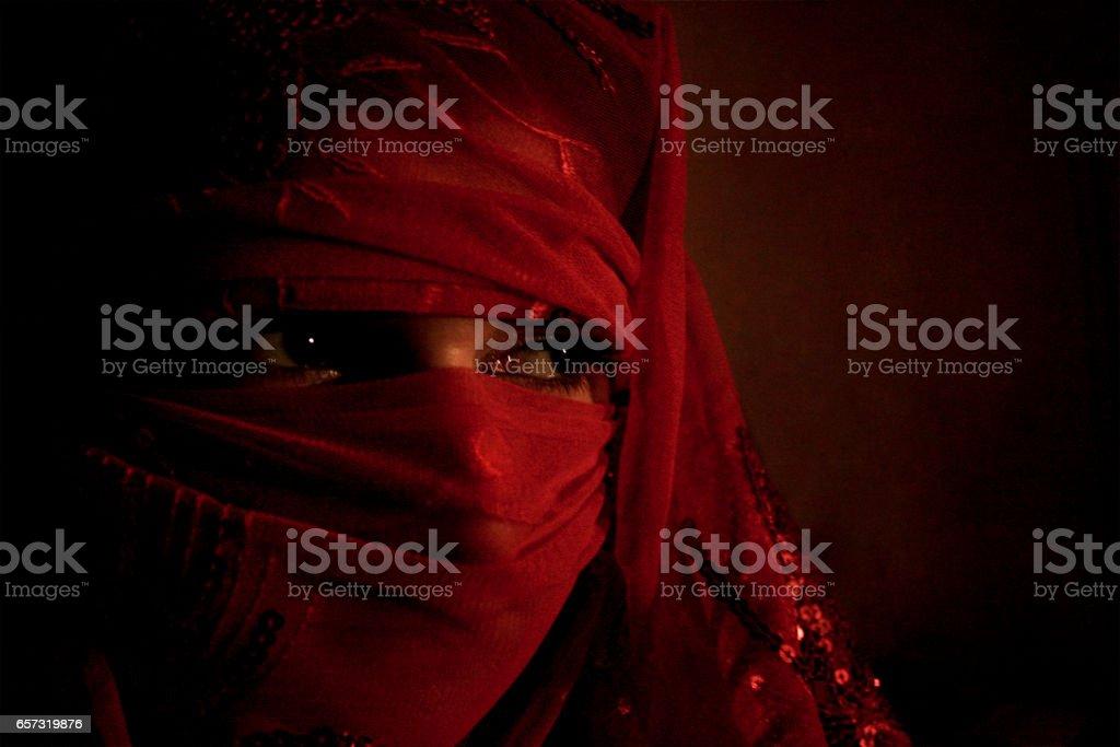 Woman wearing burka stock photo