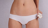 Woman wearing cotton panties and holding cotton flower close up. Female underwear made from natural organic materials