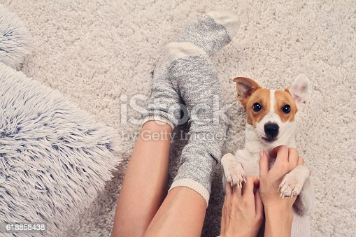 618750646 istock photo Woman wearing cozy warm wool socks relaxing at home 618858438