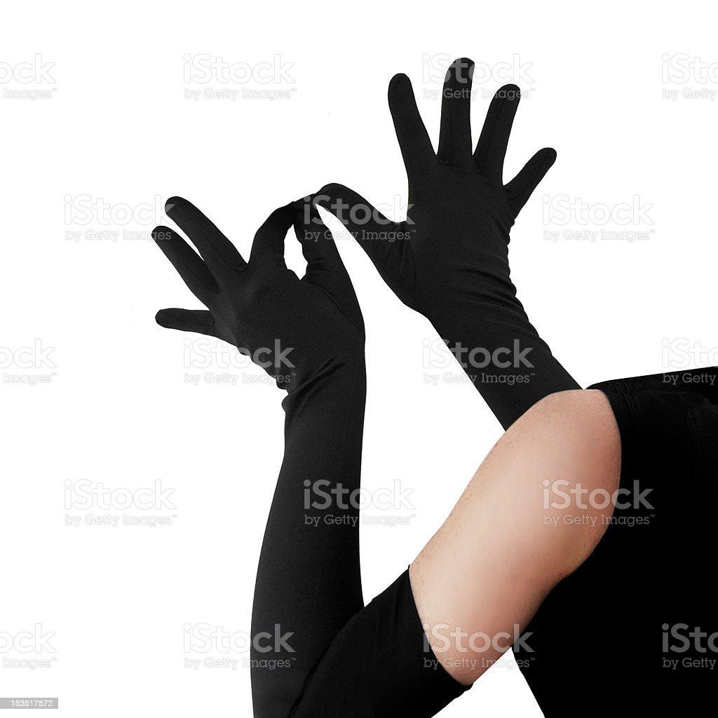 Woman wearing elegant long gloves stock photo