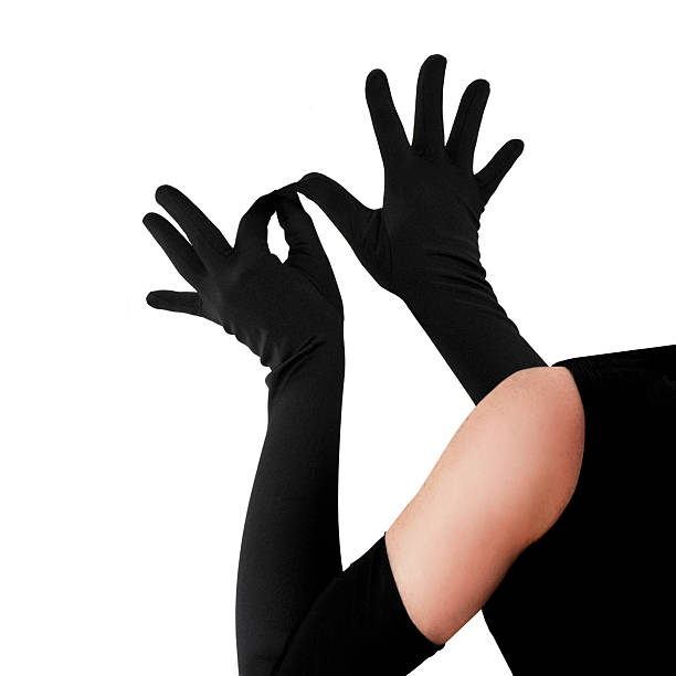 woman wearing elegant long gloves - sports glove stock photos and pictures
