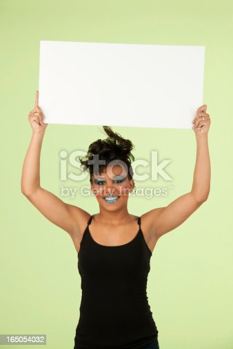 807419930 istock photo Woman Wearing Extreme Makeup Holding Blank Placard 165054032