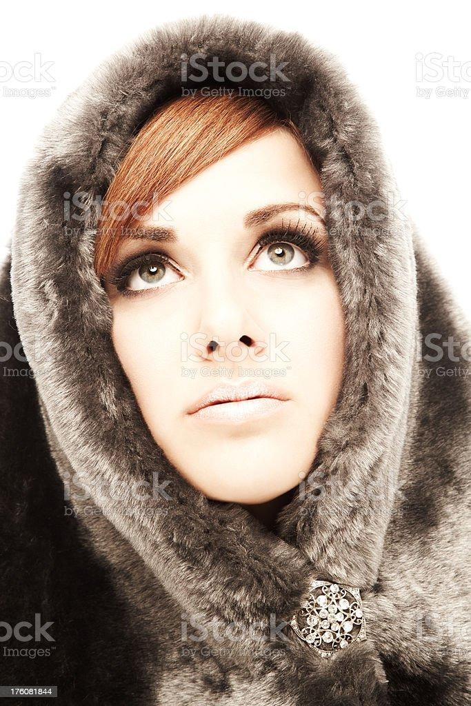 Woman Wearing Fur Hood royalty-free stock photo