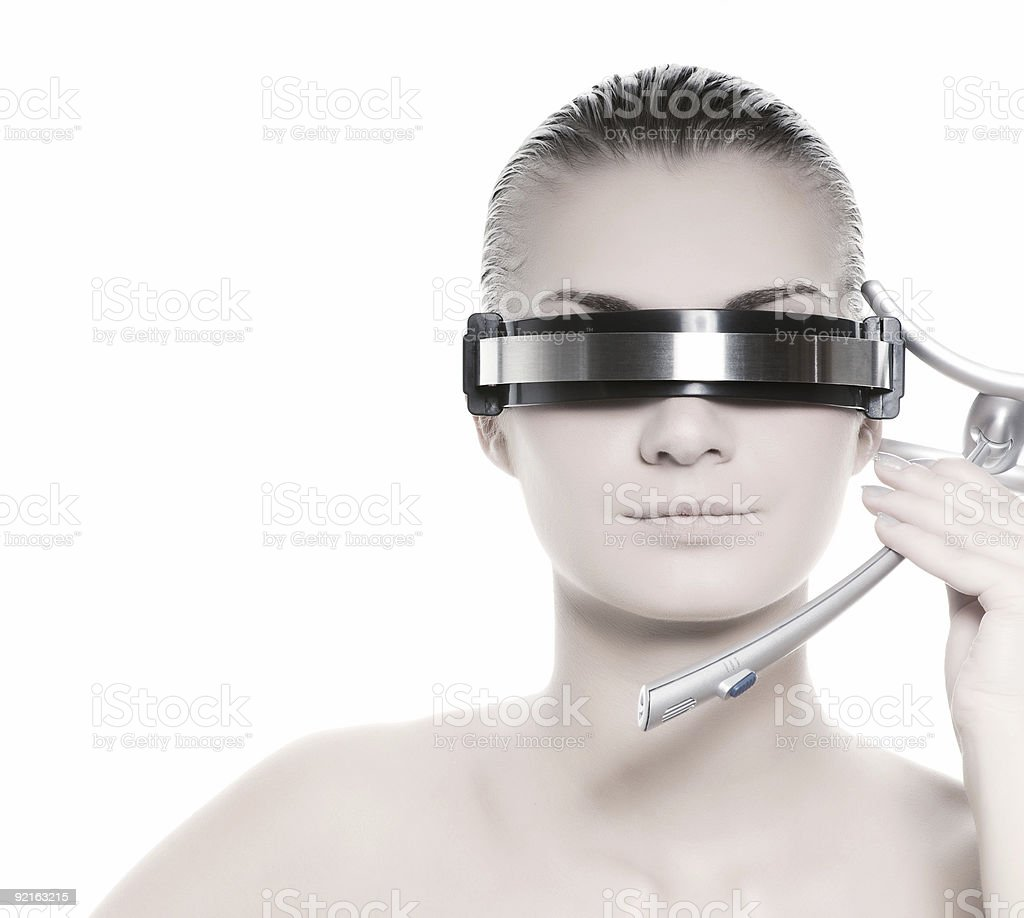 A woman wearing futuristic glasses royalty-free stock photo