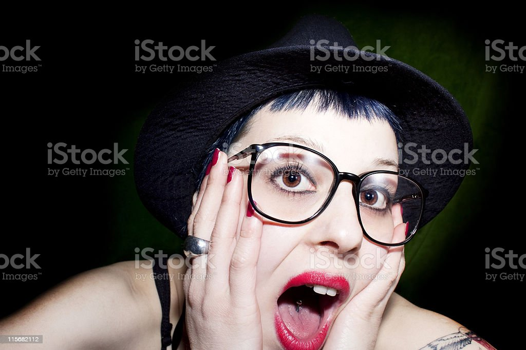 woman wearing glasses and hat royalty-free stock photo