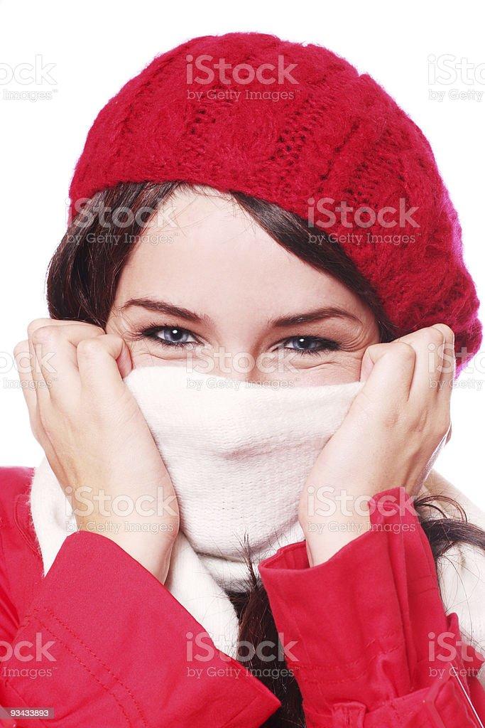 Frau mit Hut und Schal Lizenzfreies stock-foto