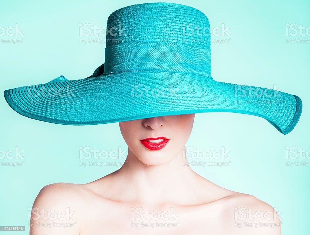 Woman wearing hat stock photo